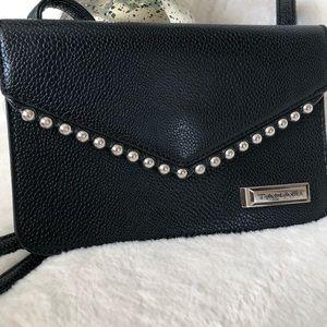 Tahari black studded leather crossbody